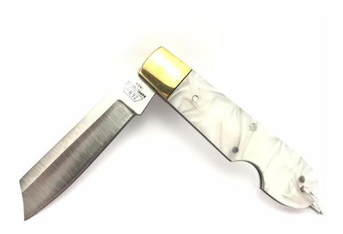 Canivete Zebu Barretos 639 Inox Cabo Branco Com Bainha