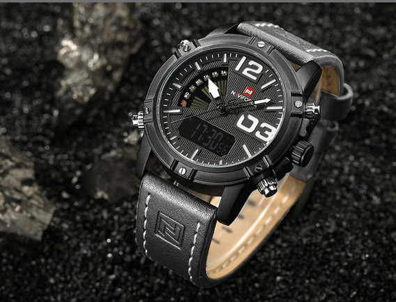 Relógio Masculino Naviforce 9095 Original Pulseira Couro
