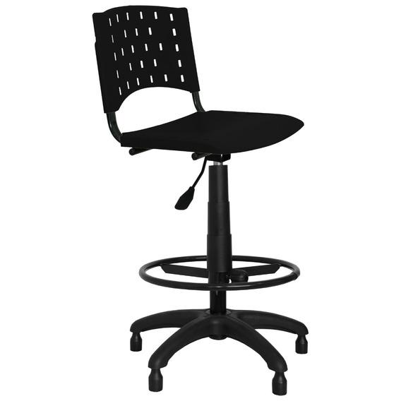 Cadeira Caixa Alta Plástica Secretária Portaria Preta