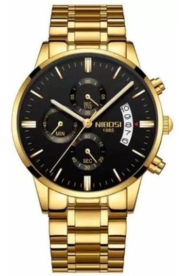 Relógio Masculino Nibosi Dourado, Prata, Preto 100% Original