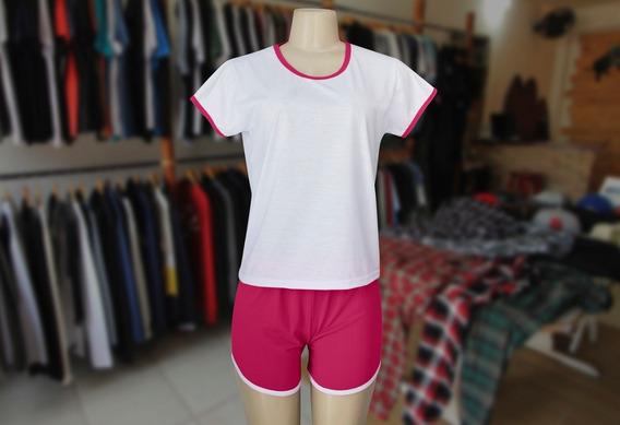 Pijama Adulto Feminino Curto Rosa-100% Poliester-(lote 10pç)