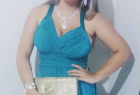 Vestido Longo Azul Com Fenda Lateral