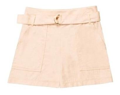 Shorts Feminino Cintura Alta Com Cinto Hering
