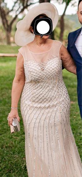 Vestido De Festa Nude Dourado Claro