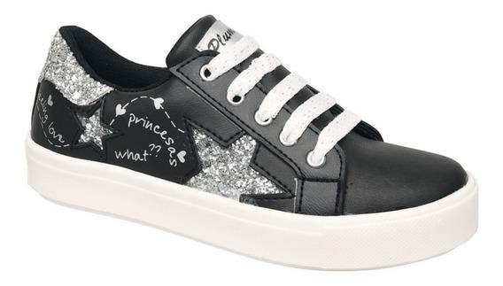 Zapatillas Plumitas Acordonada Estrellas Para Niñas Negra