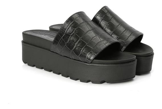 Sandália Birken Flat Croco Plataforma Feminino Conforto
