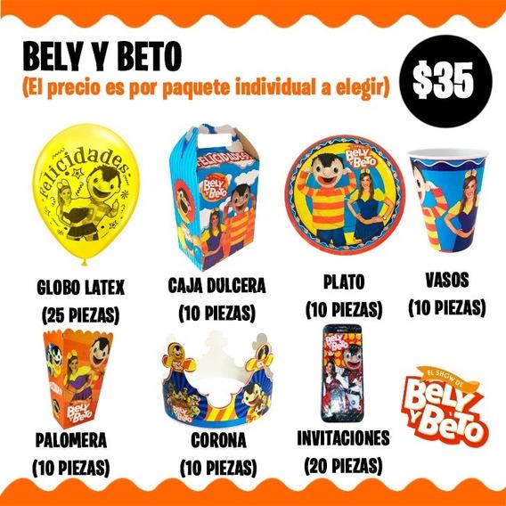 Bely Y Beto Vasos Platos Caja Fiesta Corona Globos Dulceros