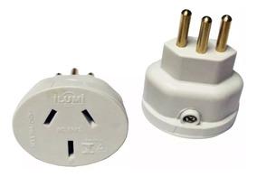 Plug Adaptador Ac 3 Pinos Chato - Padrão Europeu