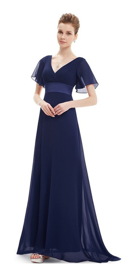 Vestido De Quince-fiesta- Egreso Azul Talle L (mod.35)