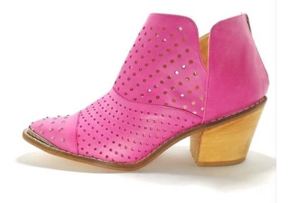 Zapato Mujer Bota Botineta Cuero Fucsia Calada
