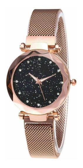 Relógio Feminio Céu Estrelado Diamante Pulseira De Imã