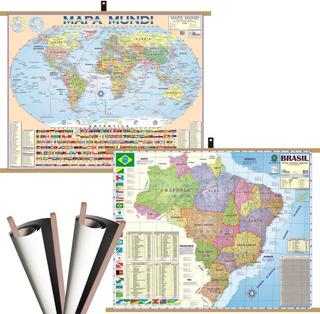 Mapa Brasil + Mundi Banner Moldura Laminado Gigante Politico