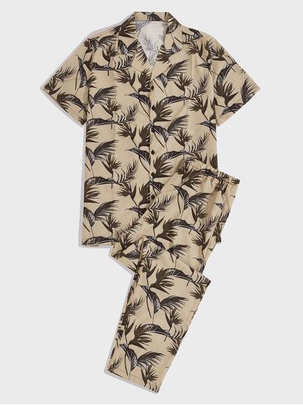 Conjunto De Pijama De Hombres Camisa Con Estampado Tropical