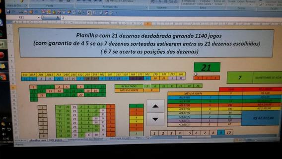 Planilha Com 21 Dezenas Dia Da Sorte 1140 Jogos