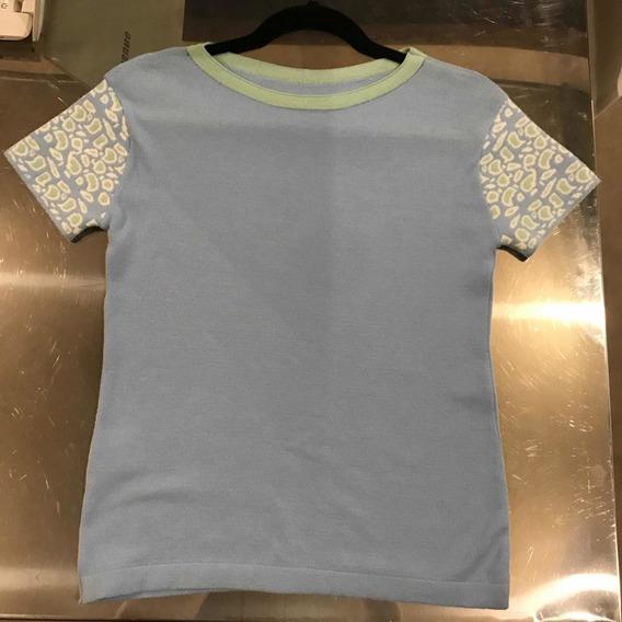 Blusa Tshirt Modal Azul Bebê Mangacurta Detalhe Animal Print