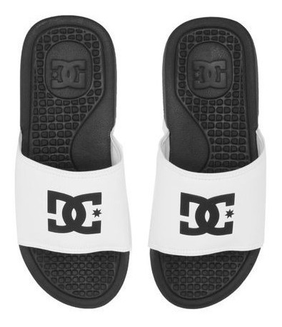 Chinelo Slide Dc Shoes Logo Branco/preto 11147 Original