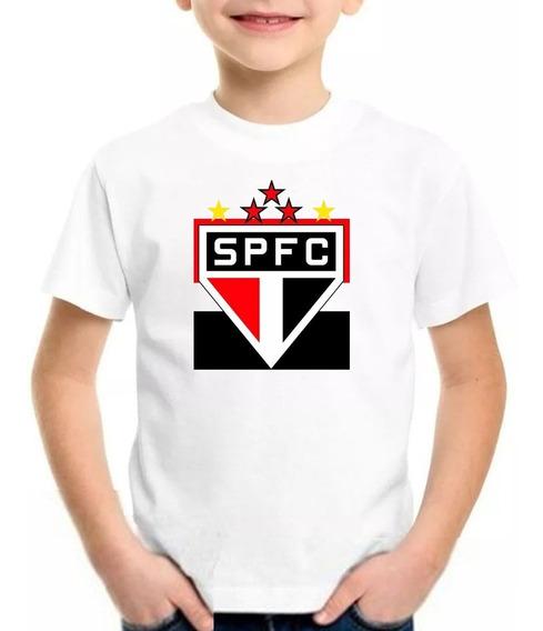 Camiseta Blusa Infantil São Paulo Futebol Nome Personalizado