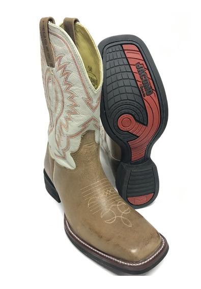 Bota Texana Country Masculina Jacomo Bico Quadrado 100% Couro - Promoção Fim De Estoque - Você Merece O Melhor!