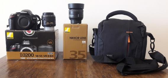 Nikon D3200 Kit + Lente Nikon 35mm F/1.8g