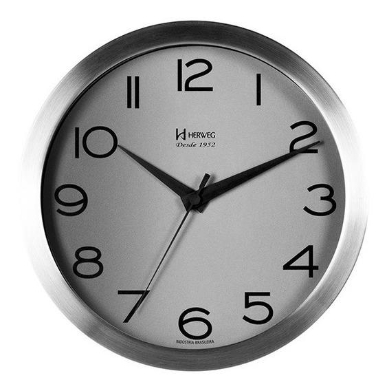 Relógio De Parede 25 Cm Alumínio Vidro Tic-tac Herweg 6714