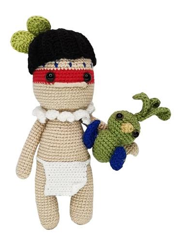 Imagen 1 de 2 de Amigurumi Nativo Con Quetzal Hecho A Mano En Crochet