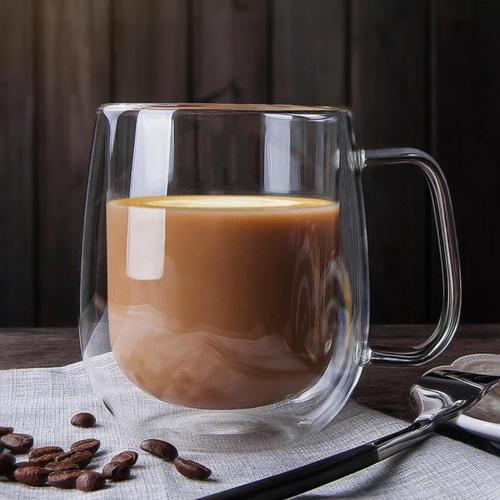2 Tazas De Vidrio Doble Pared Aislamiento C/ Asa Té Café Csp