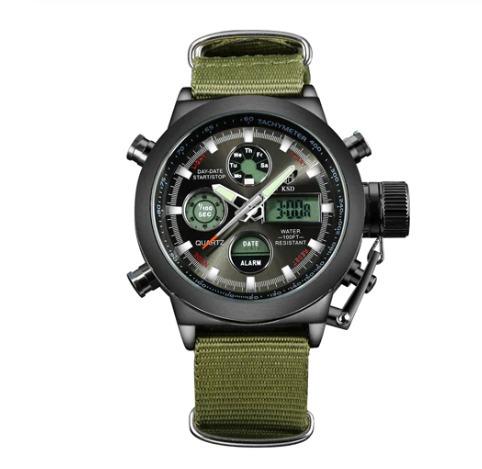 Relógio Militar Digital Analógico Golden Hour Gh-103c Preto