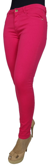 Calça Jeans Feminina Pink Rosa Escuro Cintura Alta Skinny 19