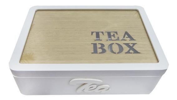 Caja De Te Madera Tea Box 6 Divisiones Blanca Artesanal
