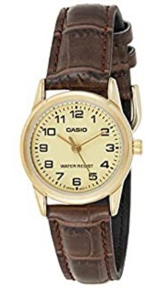 Relógio Casio Pequeno Feminino Dourado Pulseira Couro + Nf