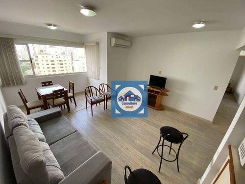 Imagem 1 de 30 de Flat Com 2 Dormitórios Para Alugar, 67 M² Por R$ 3.200,00/mês - Gonzaga - Santos/sp - Fl0073