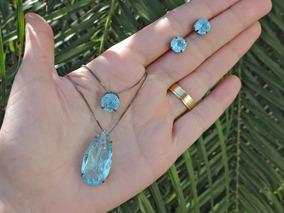 Conjunto 2 Colares + Brinco Pedra Fusion Azul Folheado