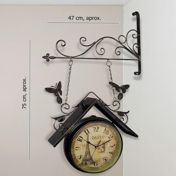 Reloj De Pared Doble Vista Paris. Interiores O Exteriores