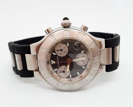 Cartier Must 21 Chronoscaph 2424 - Quartz - Caixa E Certif