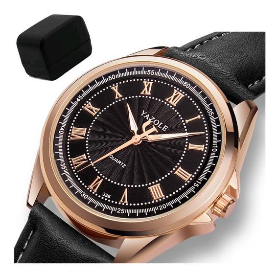 Relógio Masculino Yazole® 336 Preto Couro Brinde Caixa