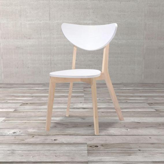 Cadeira Matilde De Madeira Natural E Branca