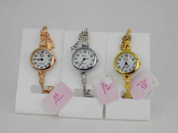 Kit 3 Relógios Pulseira Dourado Strass Pingente Feminino