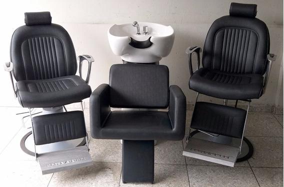 Cadeiras P/ Barbeiro Hidráulicas Ferrante New Astro / Lavatório Cuba Porcelana