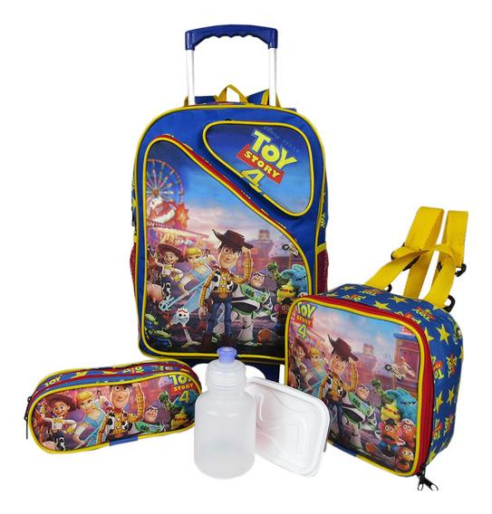 Kit Mochila Escolar 3 Bolsos Toy Story Rodinhas