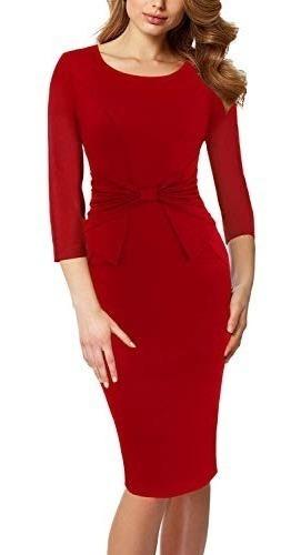 Vestido Para Fiesta Trabajo Iglesia Negocios Elegante Rojof