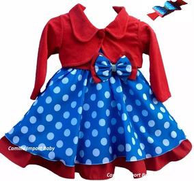 Vestido Infantil Azul Galinha Pintadinha Luxo Bolero E Laço