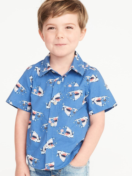 Camisa Bebé Manga Corta Estampada Niño Tiburones Old Navy