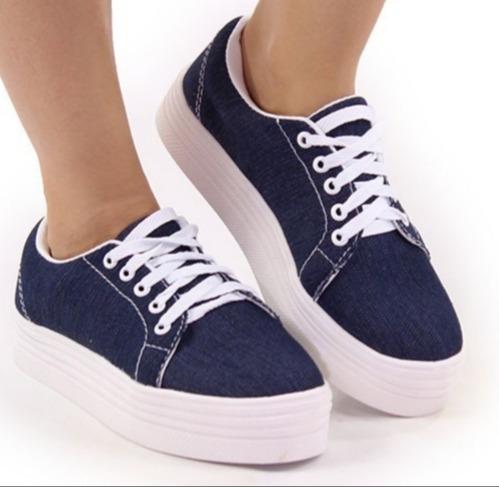 Tênis Feminino Sola Alta Flat Form Kit 1 Preto+ 1 Azul Jeans