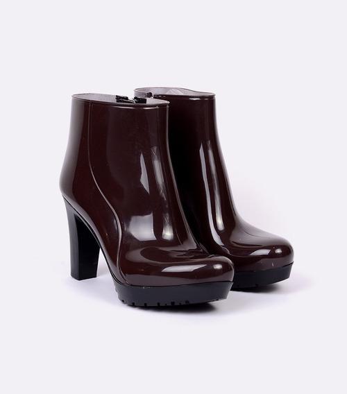 Bota De Lluvia Para Mujer Storm Color Chocolate Con Tacón