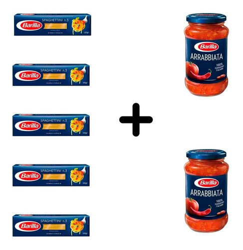 Imagen 1 de 1 de Fideos Barilla Spaghettini 5 Paquetes + 2 Salsas Arrabiata