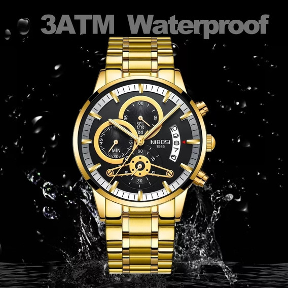 Promoção Relógio Nibosi Masculino Dourado Luxuoso Com Caixa