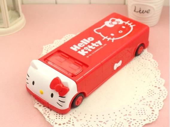 Estojo Kawaii Escolar Hello Kitty Carrinho Ou Ônibus