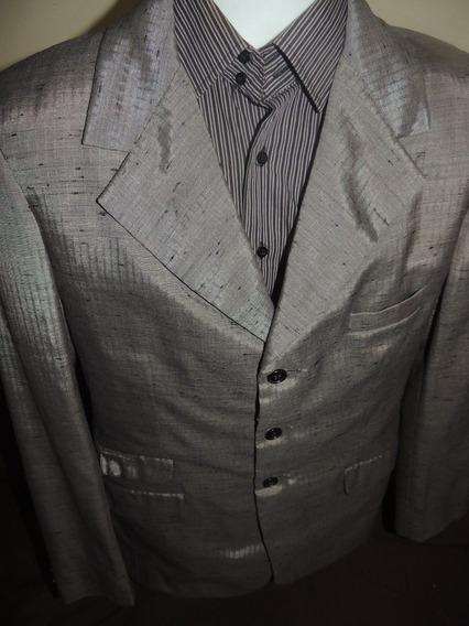 Elegante Saco De Vestir De Hombre Gris Metálico Talla L