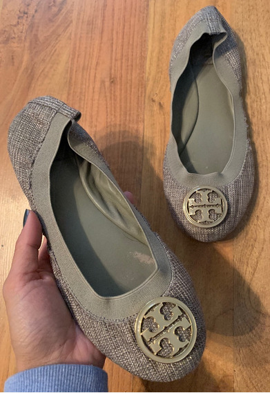 Zapatos Flats Tory Burch Elastic Ballerinas Gris 23.5!!