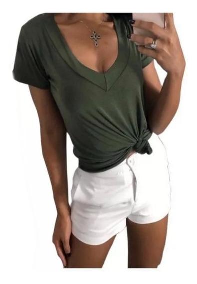 Blusa T Shitrt Feminina Decote V Podrinha